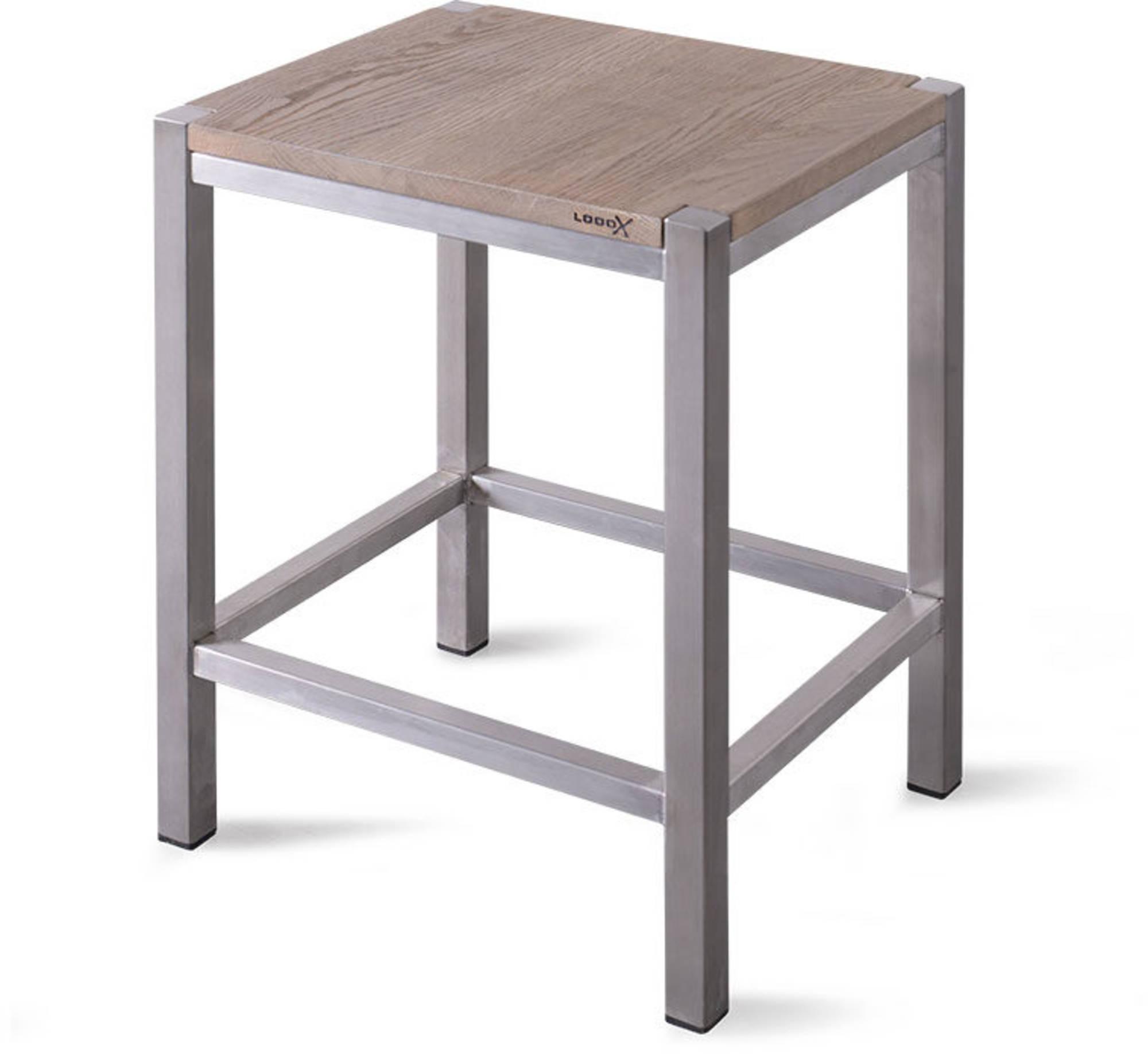 Looox Wooden Collection douche stool met frame geborsteld rvs/eiken