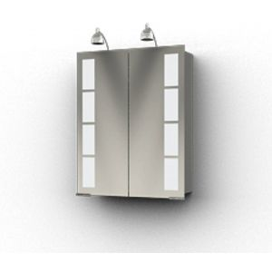 Ben Magno Spiegelkast Aluminium 60cm met 2 spotjes