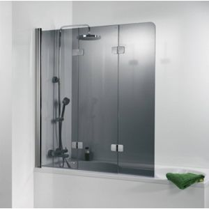 Ben Martino Soft 3-delige Badklapwand 114x140cm Chroom / Grijs Glas