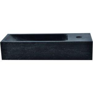 Saniselect Fontein smal 1 kraangat rechts 38x14x8 cm Hardstenen Zwart