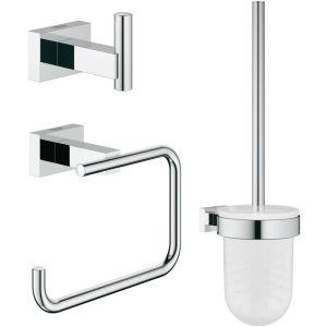 Grohe Essentials Cube accessoireset 3-in-1 (haak-borstelhouder-rolhouder zonder klep) Chroom