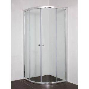 Saniselect Apansa douchecabine Kwartrond Schuifdeur 90x195cm Aluminium / Helder Glas