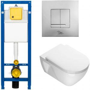 Ben Puro Closetset met inbouwreservoir BPF, bedieningspaneel Style, wandcloset Puro en closetzitting Puro Wit/Mat-chroom