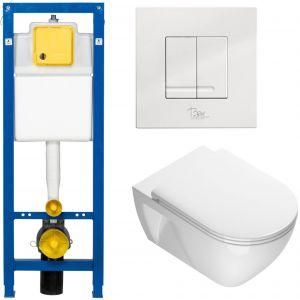 Ben Puro Closetset met inbouwreservoir BPF, bedieningspaneel Style, wandcloset Puro en closetzitting Puro Wit/Wit