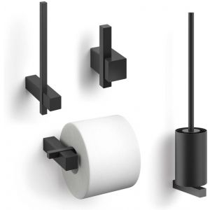 ZACK Carvo toilet accesoires set 4-in-1 rond Zwart