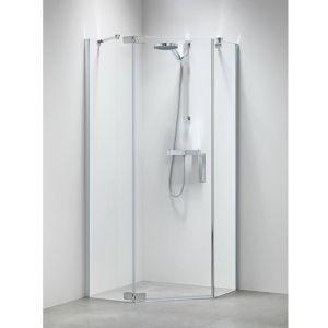 Sealskin Get Wet Custom douchecabine vijfhoek swingdeur 90x195 cm zilver hoogglans helder glas