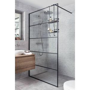 Saniselect Firo Inloopdouche met frame en stabilisatiesteun 100x210 cm Helder Glas / Mat Zwart