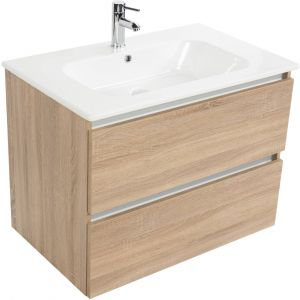 Saniselect Guarda meubelset 2 lades met keramische wastafel greeploos 80cm Bardolino Eiken