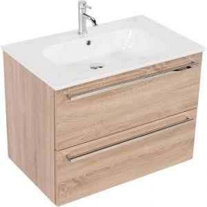 Saniselect Kreo meubelset 2 lades met keramische wastafel 80cm Bardolino Eiken