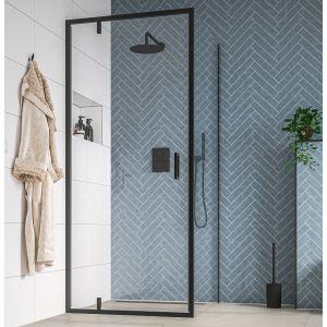 Saniselect Rentra Douchedeur met Zijwand 90x90x200 cm Helder Glas/Mat Zwart
