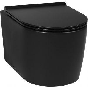 Saniselect Wandcloset inclusief toiletbril Rimless Mat Zwart