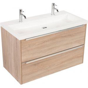 Saniselect Socan meubelset 2 lades met mineraalmarmere wastafel 100cm Bardolino Eiken