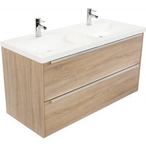 Saniselect Socan meubelset 2 lades met dubbele mineraalmarmere wastafel 120cm Bardolino Eiken