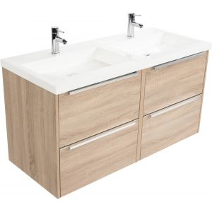Saniselect Socan meubelset 4 lades met dubbele mineraalmarmere wastafel 120cm Bardolino Eiken