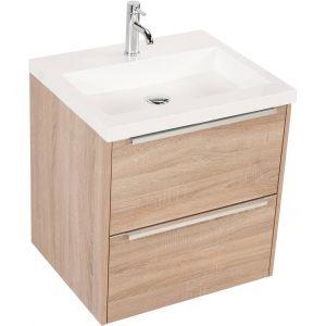 Saniselect Socan meubelset 2 lades met mineraalmarmere wastafel 60cm Bardolino Eiken