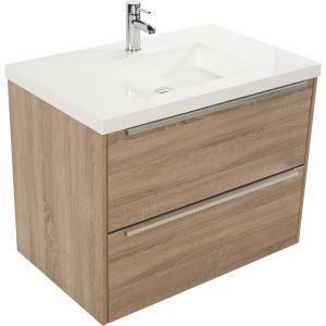 Saniselect Socan meubelset 2 lades met mineraalmarmere wastafel 80cm Bardolino Eiken
