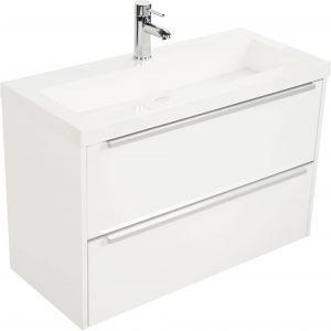Saniselect Socan Slimline meubelset 2 lades met mineraalmarmere wastafel 80cm Glans Wit