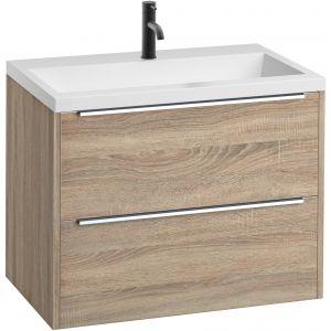 Saniselect Socan Slimline meubelset 2 lades met mineraalmarmere wastafel 80cm Bardolino Eiken