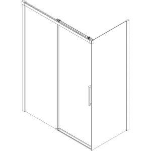 Ben Smooth Schuifdeur Links  icm zijwand Rechts.Soft-Close 116-118,5x210 cm Helder glas/Chroom-look