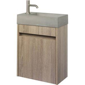 Ben Titan fonteinmeubelset 40x22,5x58,8cm Links Eiken/RVS