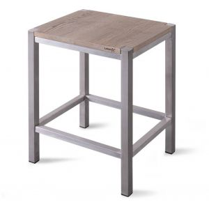 Looox Wooden Collection douche stool met frame geborsteld rvs/eiken