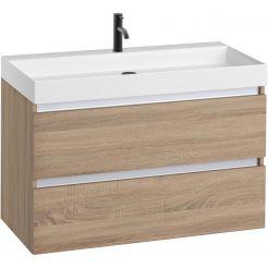 Saniselect Guarda meubelset 2 lades met mat witte mineraalmarmere wastafel 1 kraangat greeploos 100cm Bardolino Eiken