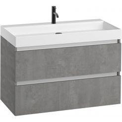 Saniselect Guarda meubelset 2 lades met mat witte mineraalmarmere wastafel 1 kraangat greeploos 100cm Beton Grijs