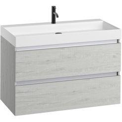 Saniselect Guarda meubelset 2 lades met mat witte mineraalmarmere wastafel 1 kraangat greeploos 100cm Pool Wit