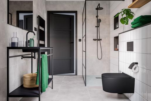 De stoere industriële badkamer