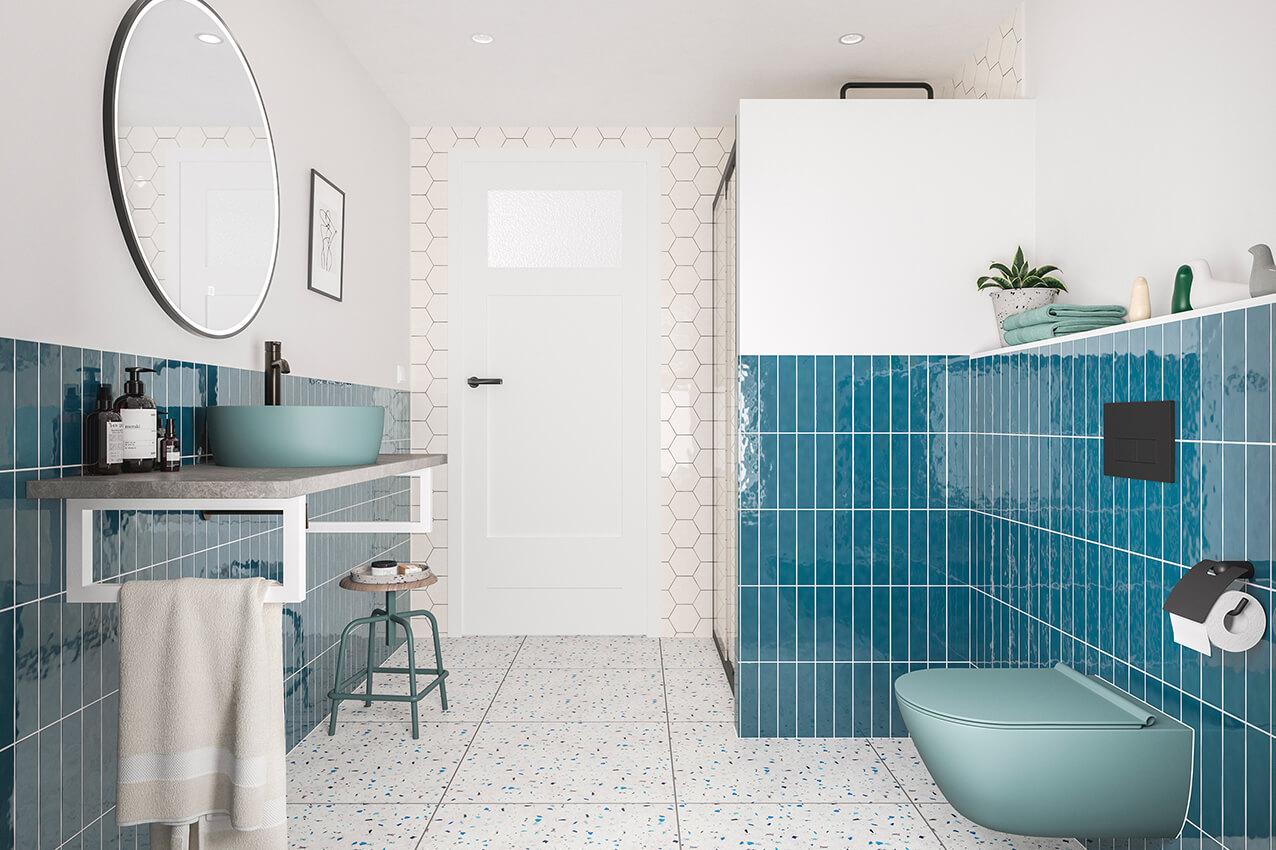 Retro moderne badkamer